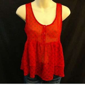 Route 66 Red and Black Floral Sheer Ruffle Top